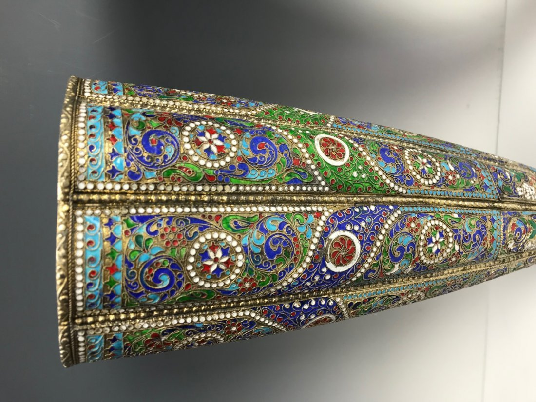 LARGE PAIR OF RUSSIAN / PERSIAN SILVER AND ENAMEL VASES - 3