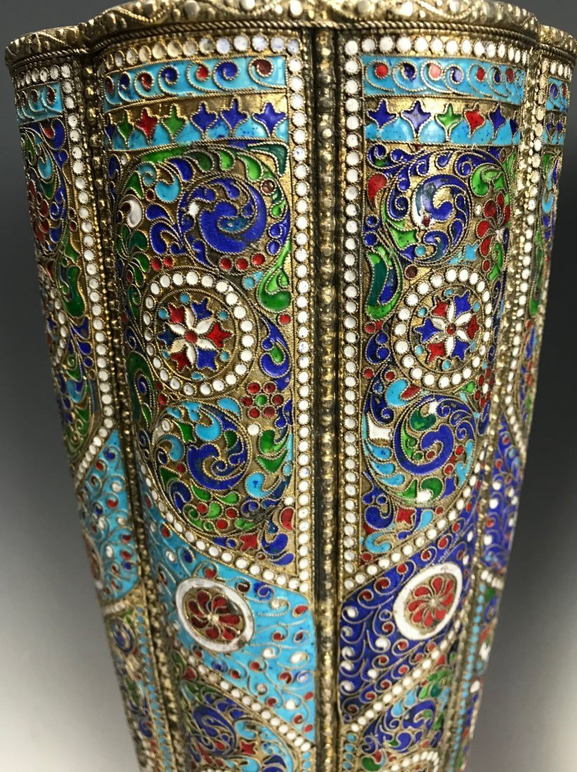 LARGE PAIR OF RUSSIAN / PERSIAN SILVER AND ENAMEL VASES - 6