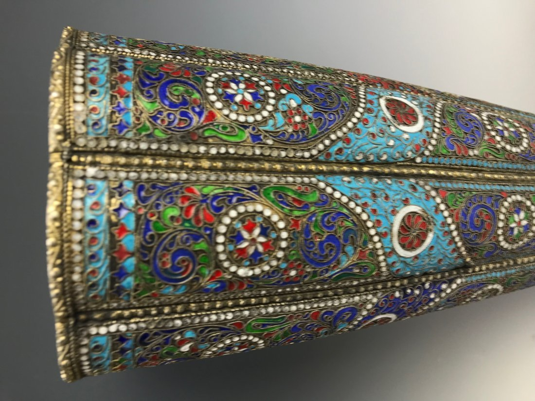 LARGE PAIR OF RUSSIAN / PERSIAN SILVER AND ENAMEL VASES - 7