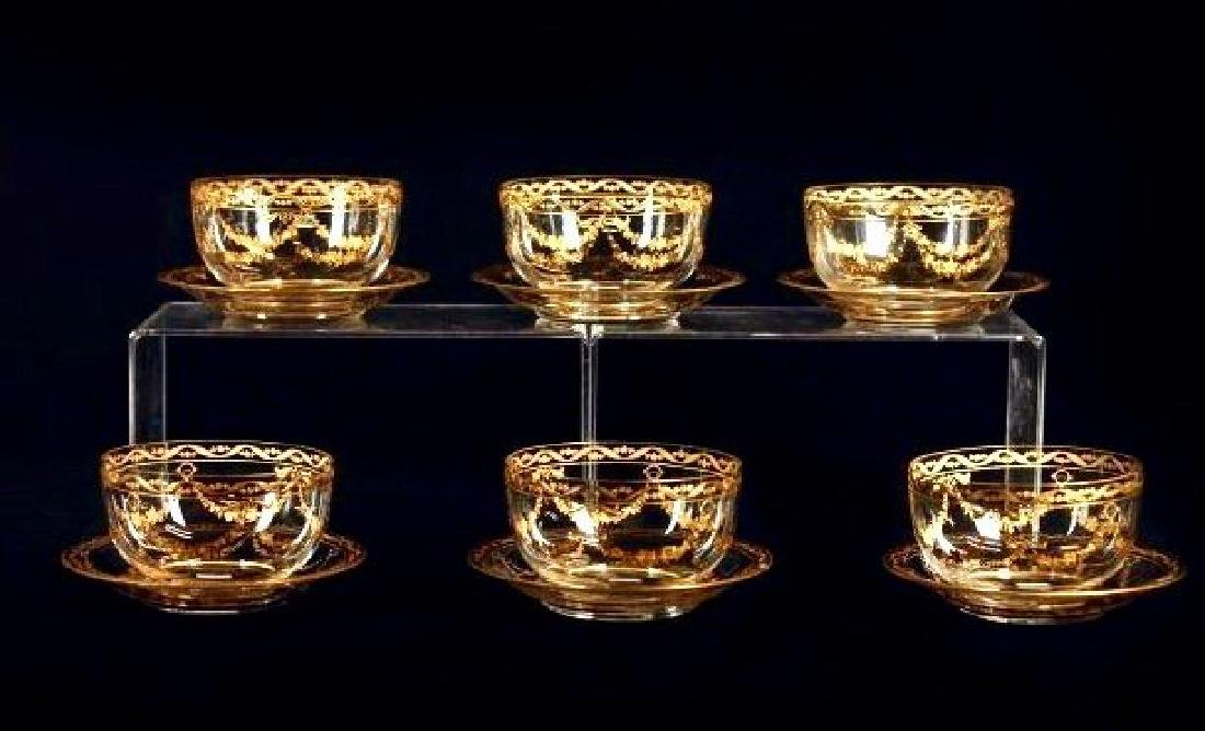 SET OF 6 GOLD DECORATED MOSER FINGER BOWLS AND PLATES