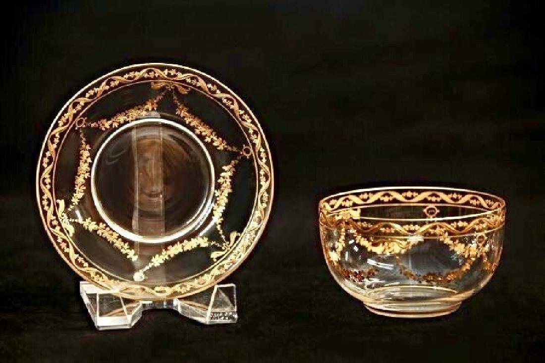 SET OF 6 GOLD DECORATED MOSER FINGER BOWLS AND PLATES - 2