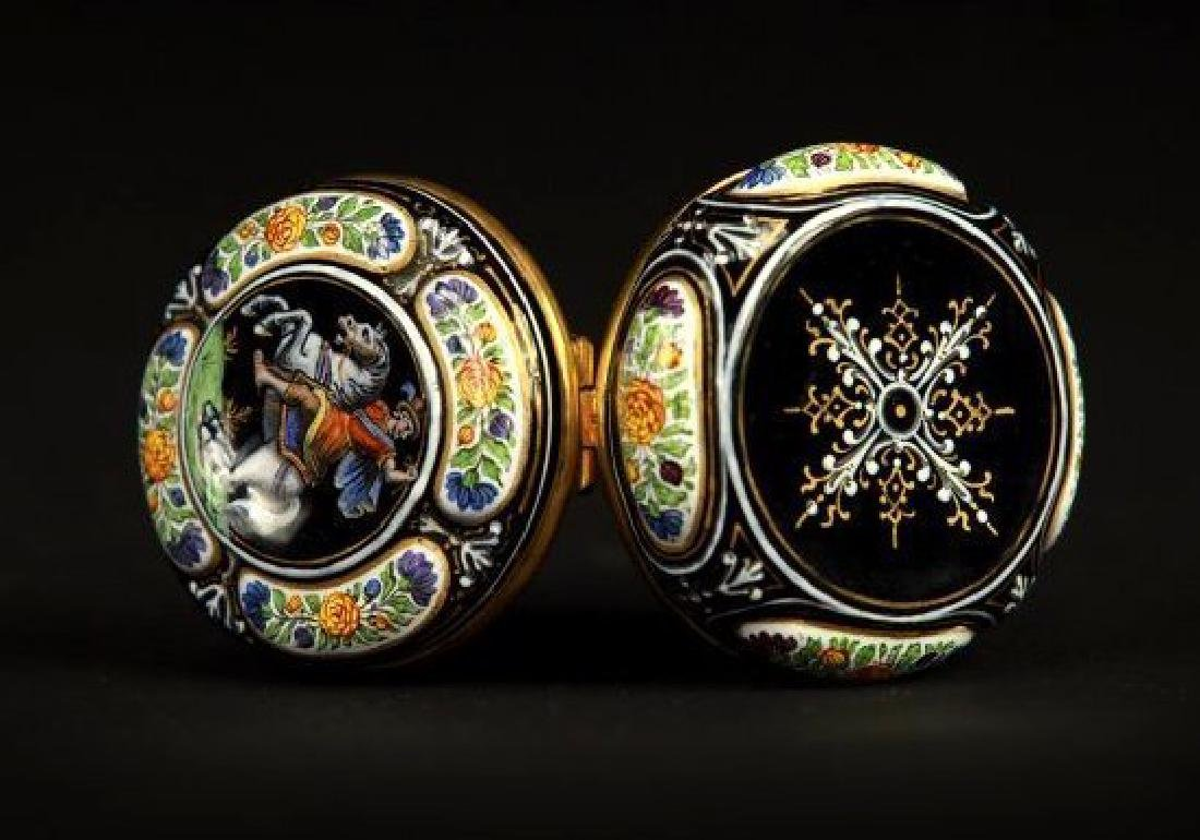 19TH CENTURY VIENNESE ENAMEL AND SILVER BOX - 2