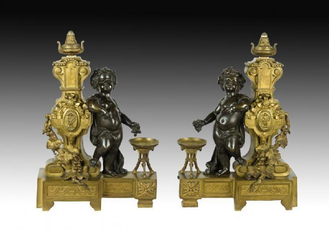 PAIR OF VERY FINE 19TH CENTURY BRONZE ANDIRONS
