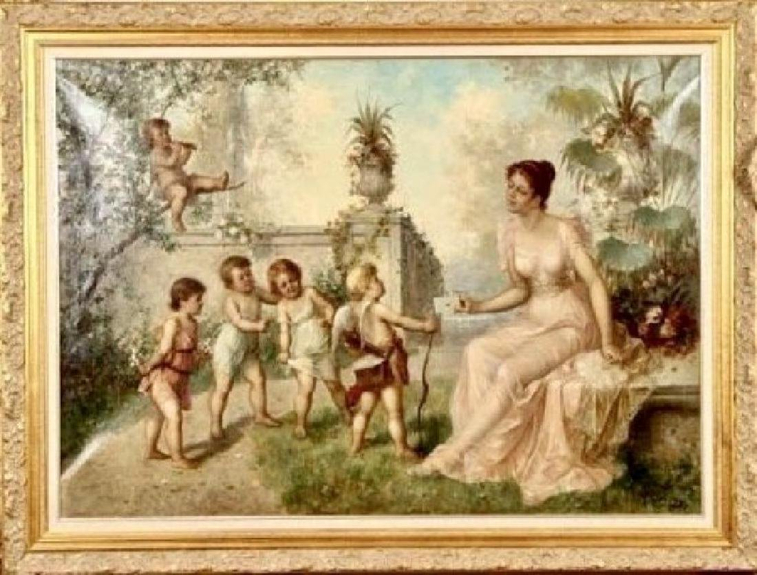 LARGE 19TH C. OIL PAINTING ON CANVAS SIGNED R. OVERHOFF