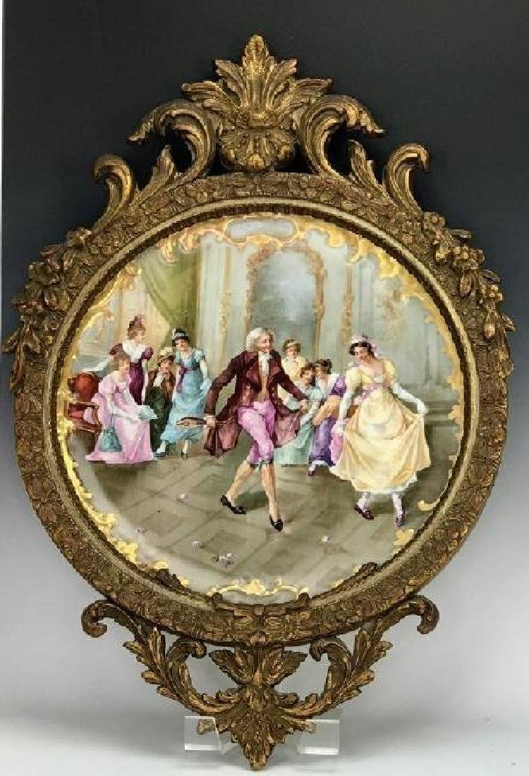 "19TH C. PORCELAIN PLAQUE OF ""THE DANCE LESSON"""