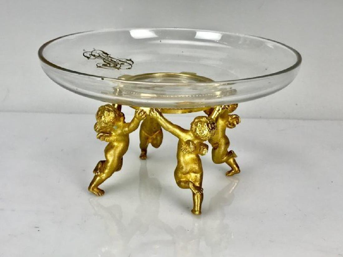19TH C. DORE BRONZE AND BACCARAT GLASS CENTERPIECE - 2