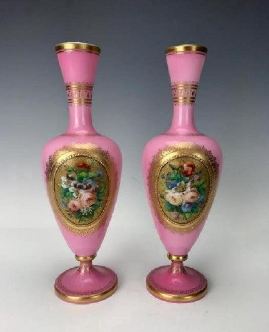 PAIR OF BACCARAT GLASS VASES CIRCA 1850