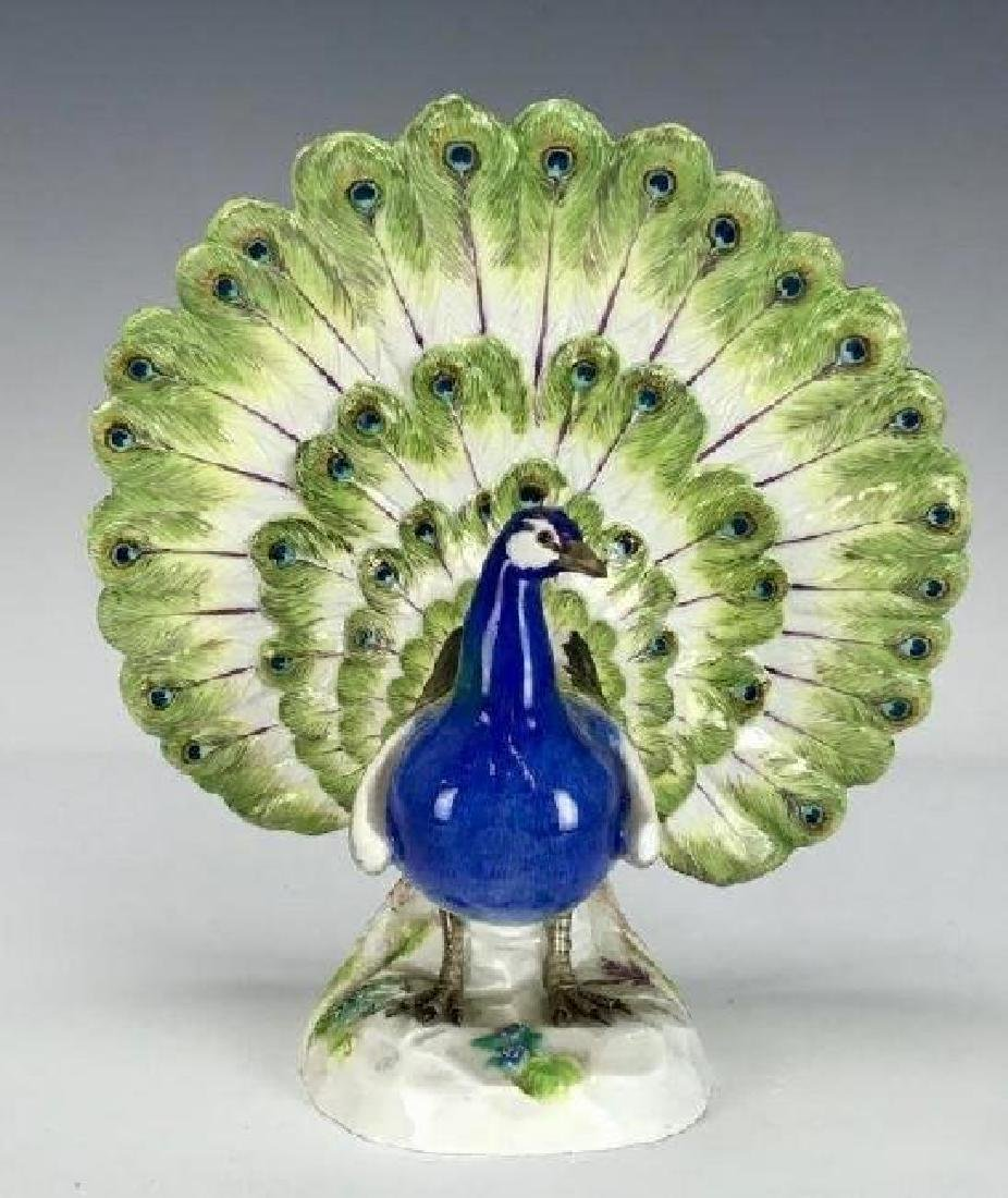 LARGE MEISSEN PEACOCK - 2
