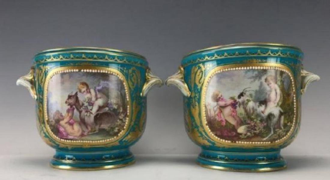 PAIR OF 19TH C. JEWELLED SEVRES JARDENIERS