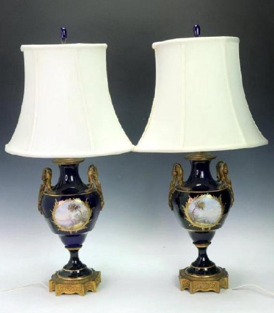 PAIR OF ORMOLU MOUNTED SEVRES LAMPS - 2