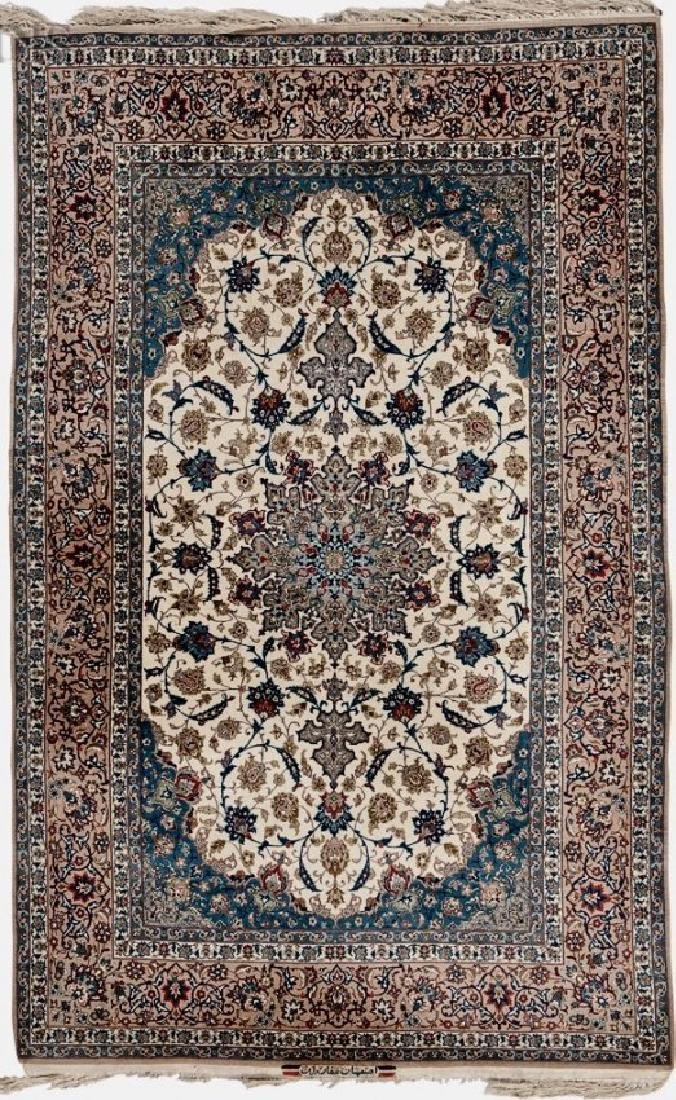 A GOOD ISPHAHAN SILK FOUNDATION WOOL RUG GHAFARIAN