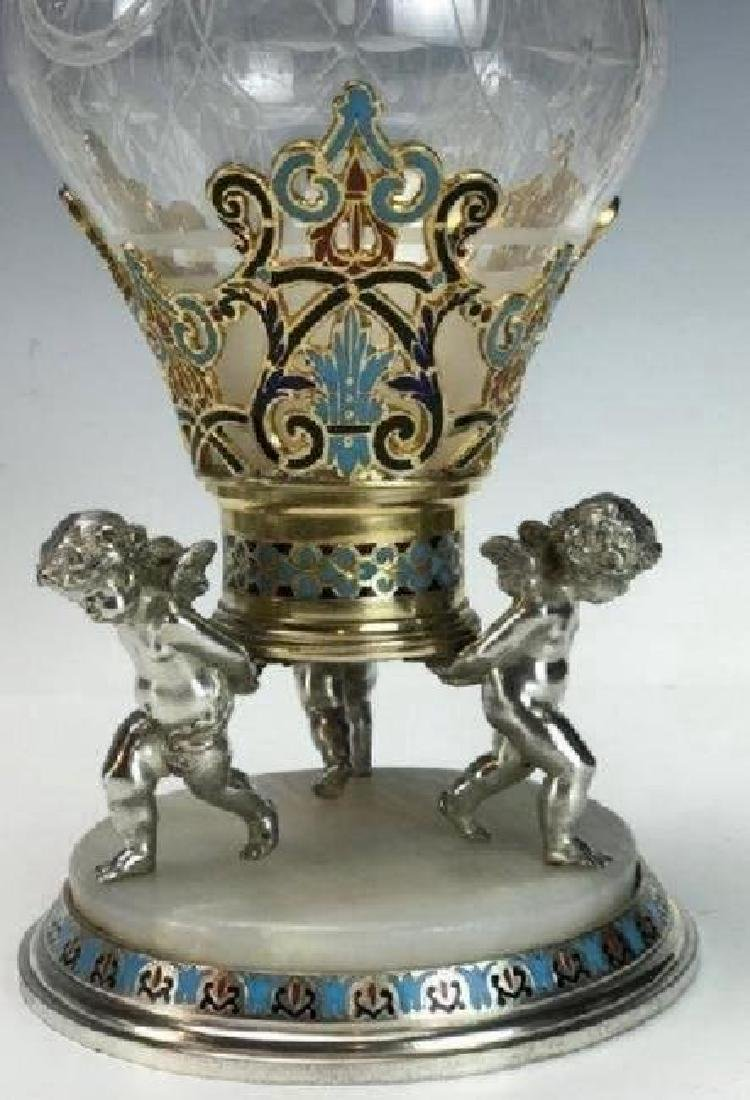 19TH C. CHAMPLEVE ENAMEL & BACCARAT GLASS VASE - 2