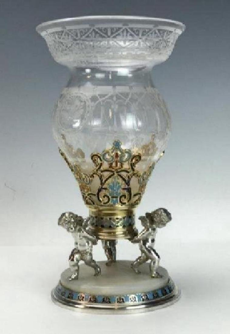 19TH C. CHAMPLEVE ENAMEL & BACCARAT GLASS VASE - 3