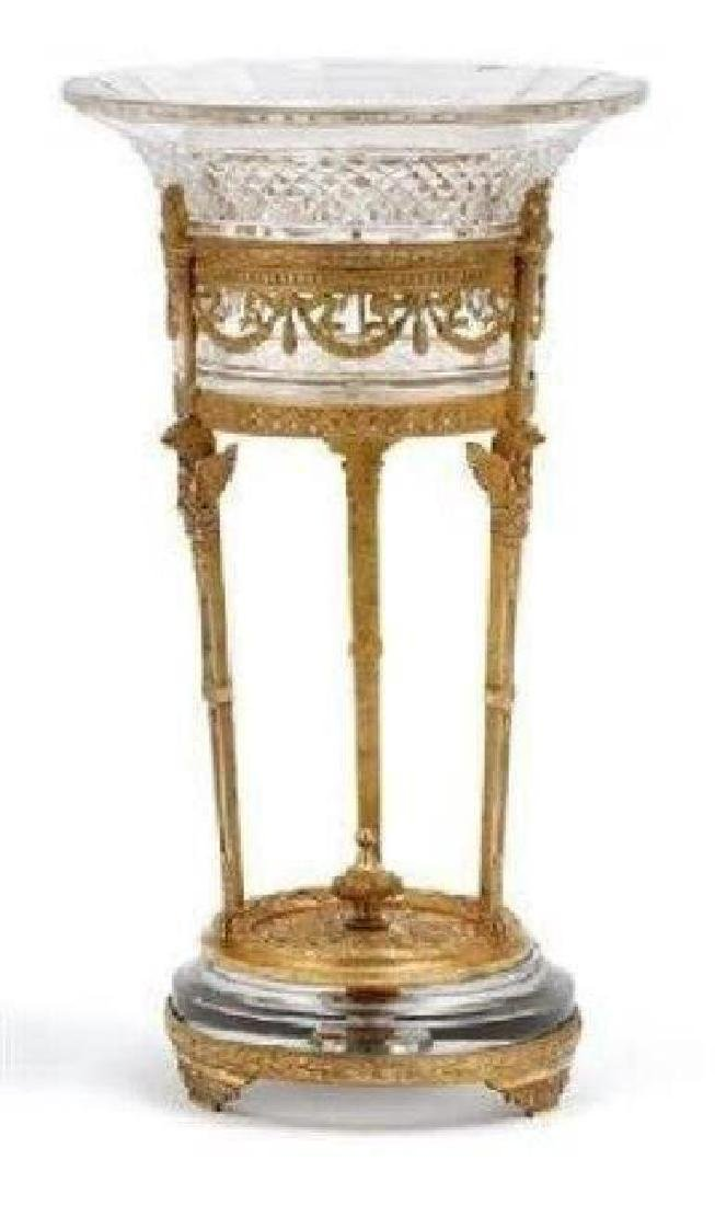 DORE BRONZE MOUNTED BACCARAT GLASS CENTERPIECE