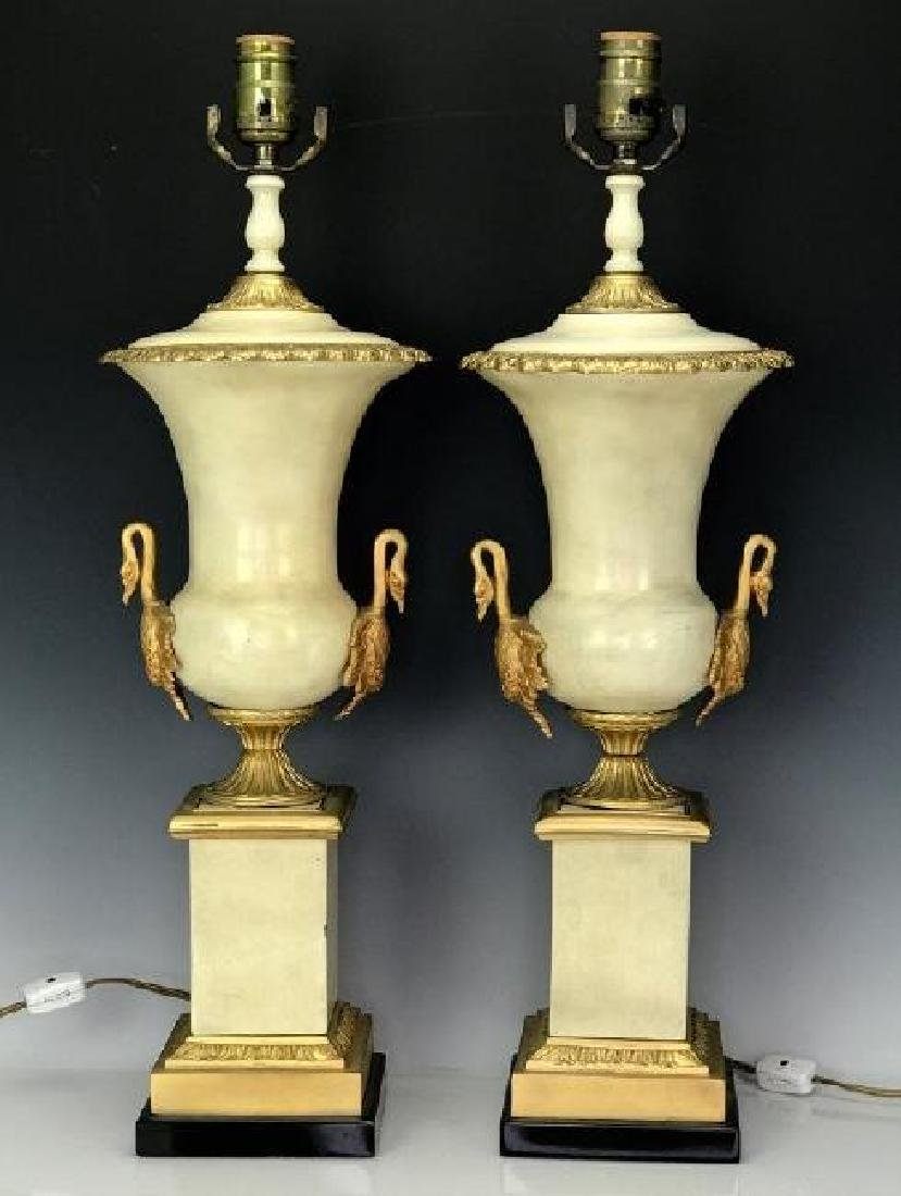 PAIR OF EMPIRE STYLE DORE BRONZE MOUNTED LAMPS