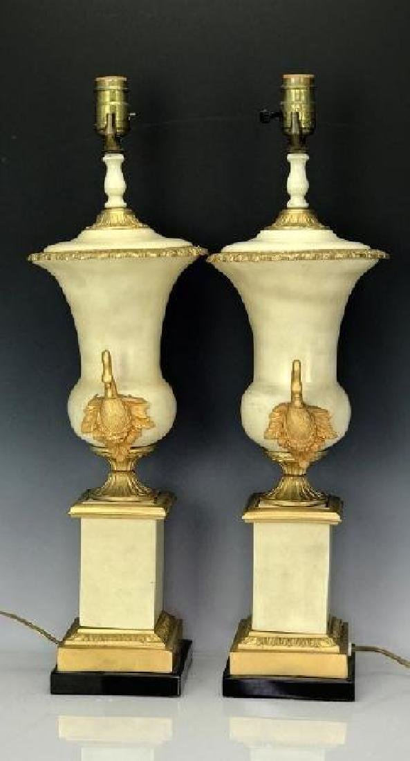 PAIR OF EMPIRE STYLE DORE BRONZE MOUNTED LAMPS - 2