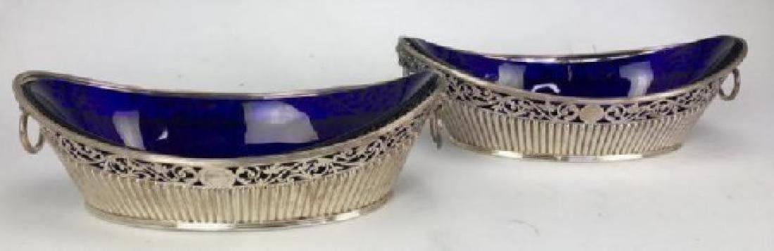 PAIR OF SILVER PLATED DISHES WITH GLASS INSERT
