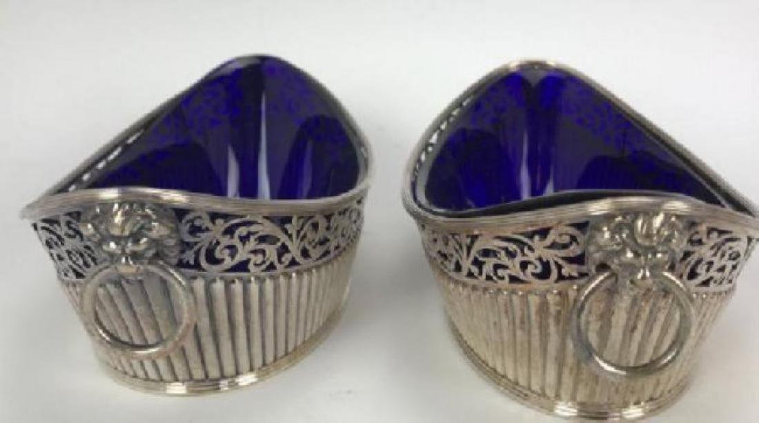 PAIR OF SILVER PLATED DISHES WITH GLASS INSERT - 2