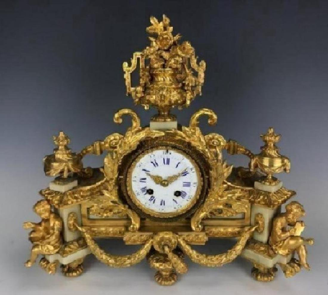 19TH C. DORE BRONZE AND WHITE MARBLE CLOCK