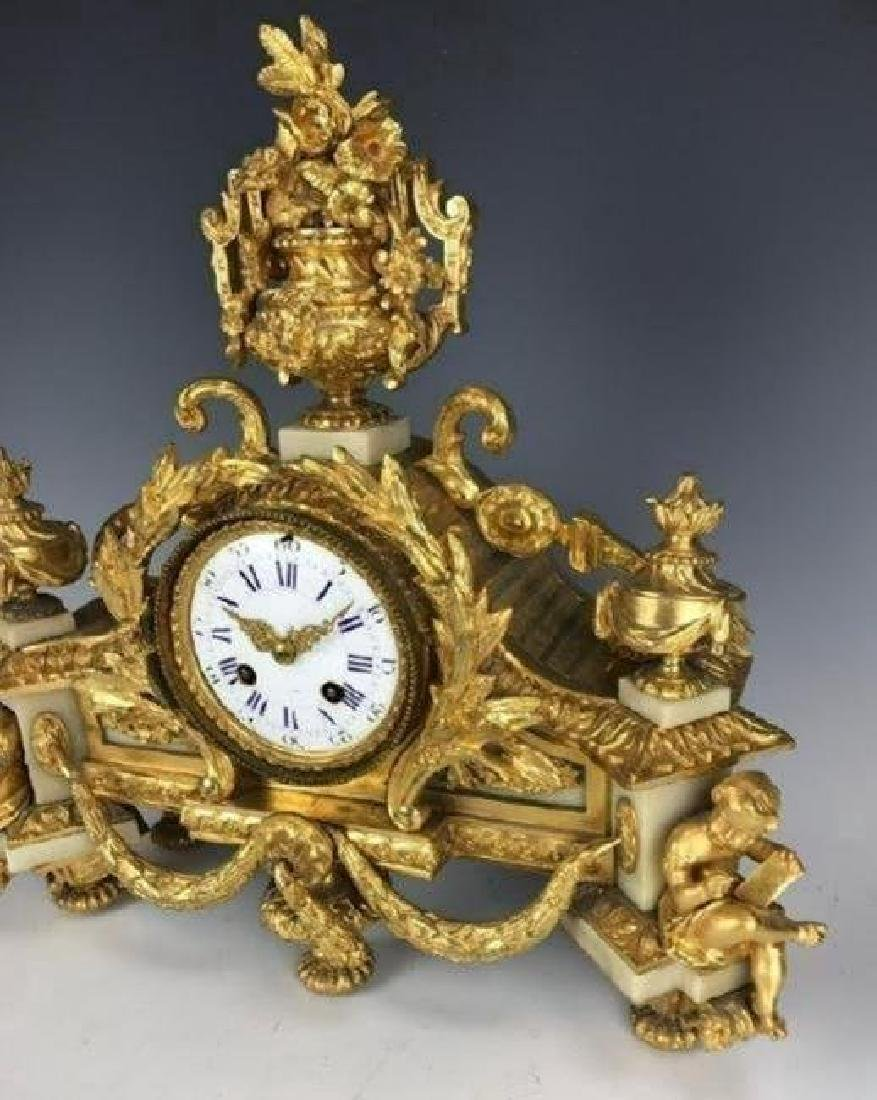 19TH C. DORE BRONZE AND WHITE MARBLE CLOCK - 2