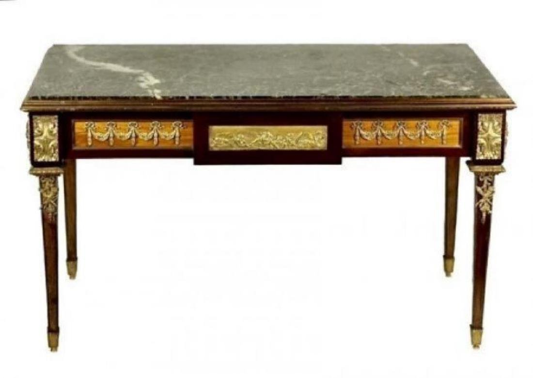19TH C. ORMOLU MOUNTED MARBLE TOP COFFEE TABLE