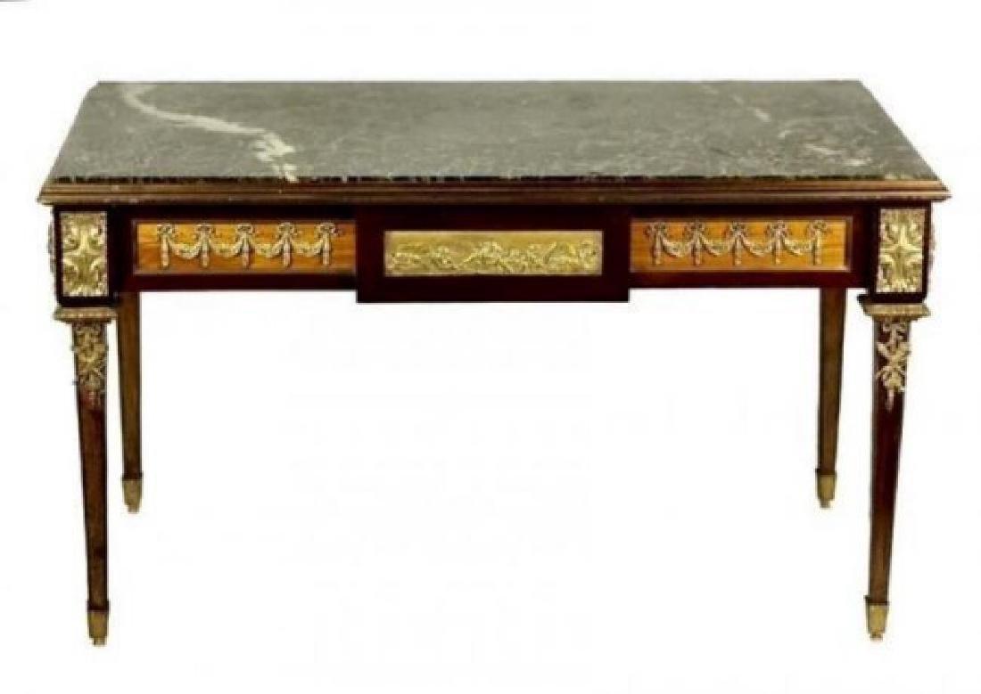 19TH C. ORMOLU MOUNTED MARBLE TOP COFFEE TABLE