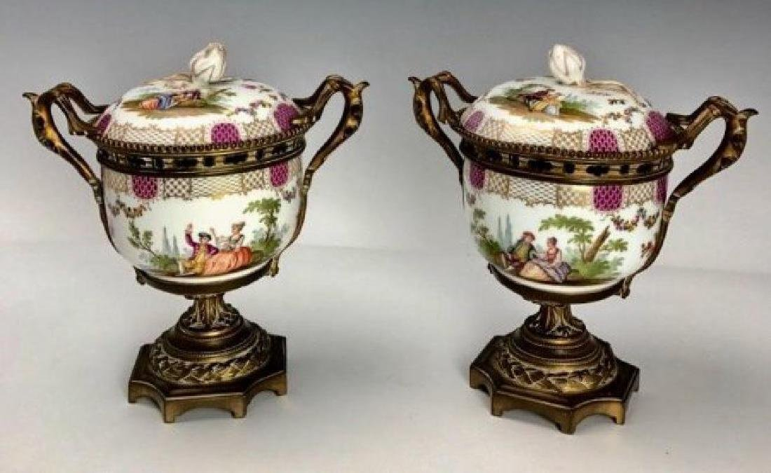 A PAIR OF ORMOLU MOUNTED MEISSEN VASES AND COVERS - 2