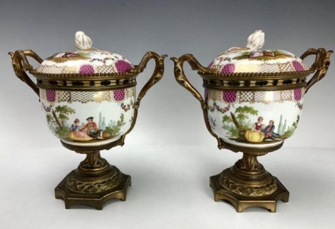 A PAIR OF ORMOLU MOUNTED MEISSEN VASES AND COVERS - 3