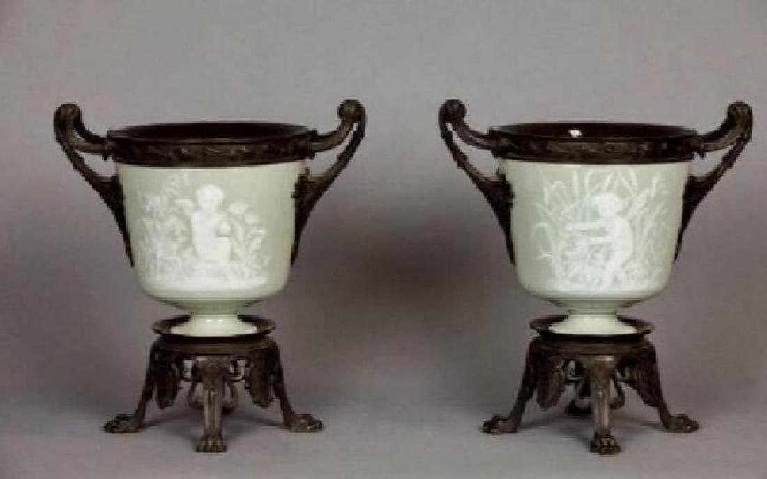 PAIR OF 19TH CENTURY BRONZE MOUNTED PATE SUR PATE VASES