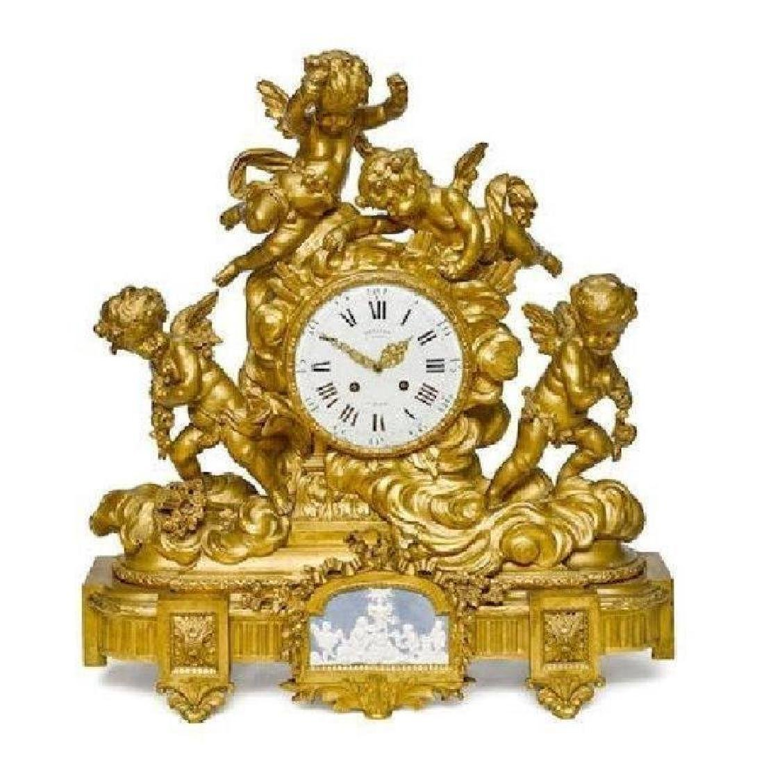 MONUMENTAL DORE BRONZE FIGURAL CLOCK BY DENIER