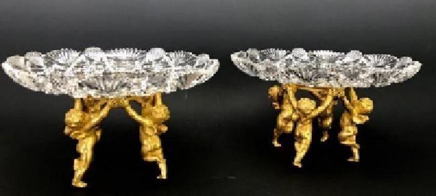 A FINE PAIR OF SIGNED ORMOLU MOUNTED BACCARAT TAZZAS