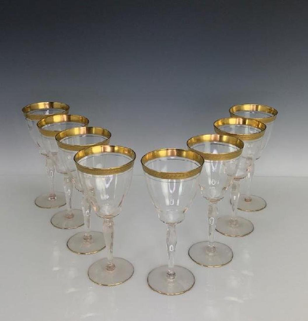 SET OF 8 GILT WINE GLASSES