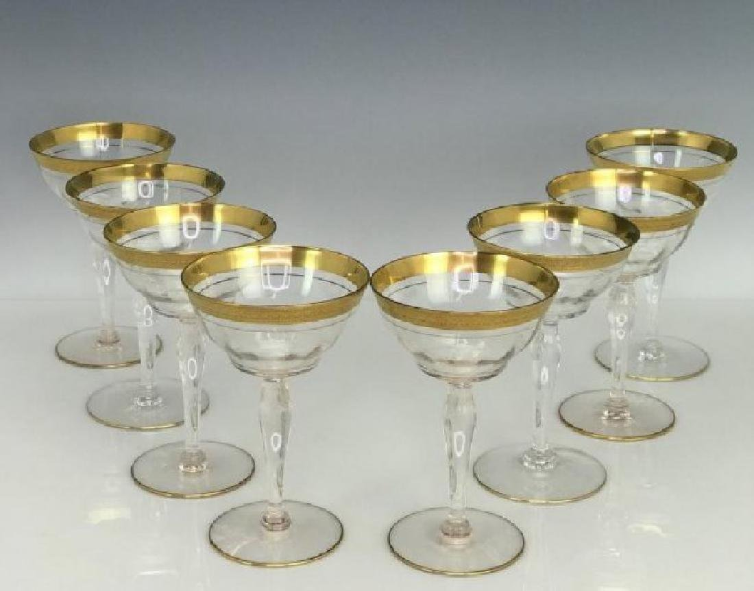SET OF 8 GILT CHAMPAGNE GLASSES