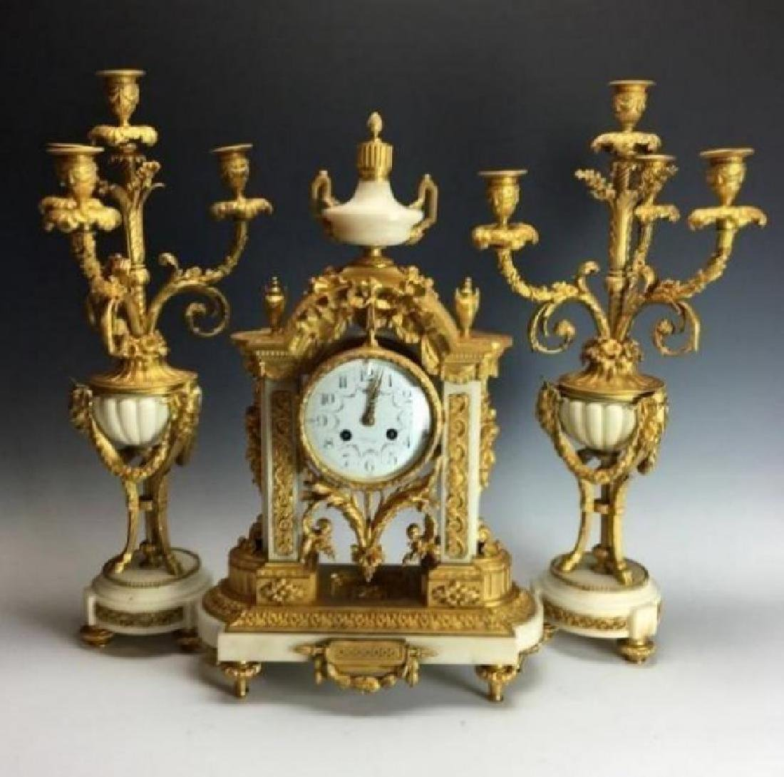 19TH C. DORE BRONZE AND MARBLE CLOCK SET