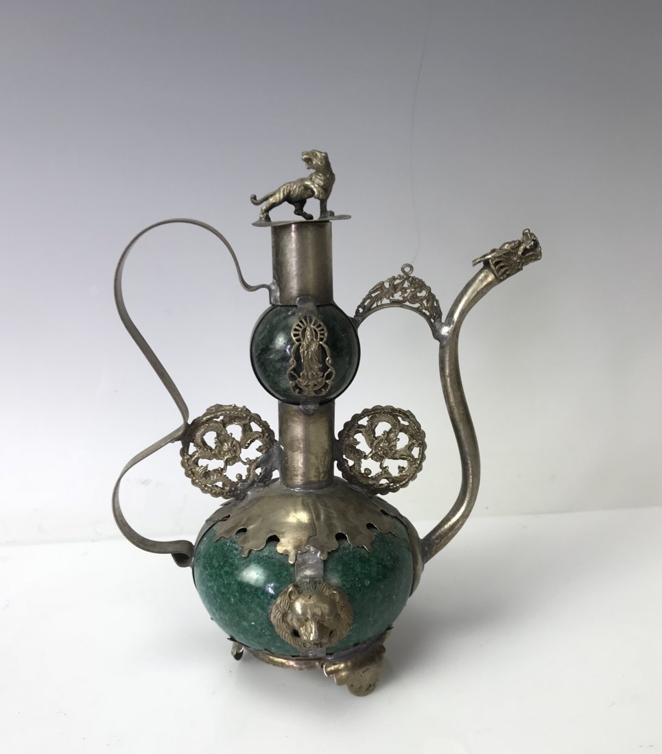 CHINESE JADE AND CLAD SILVER TEAPOT