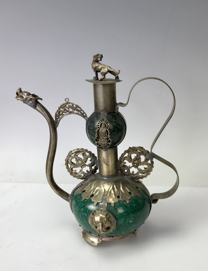 CHINESE JADE AND CLAD SILVER TEAPOT - 2