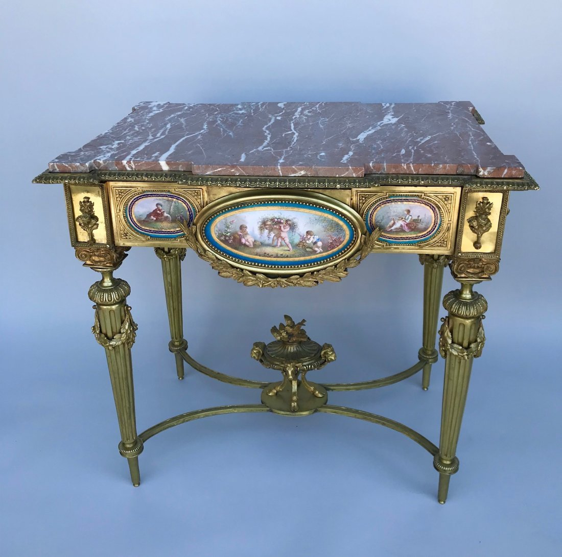 A MAGNIFICENT ORMOLU & SEVRES PORCELAIN TABLE
