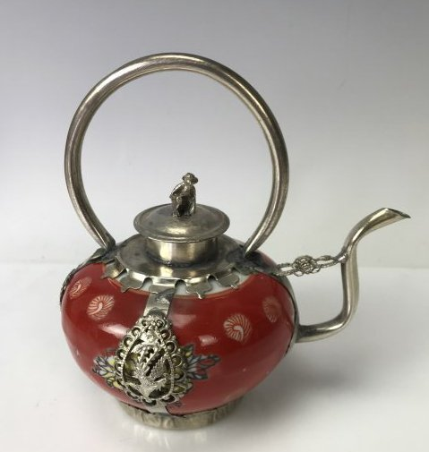 CHINESE CLAD SILVER AND PORCELAIN TEA POT