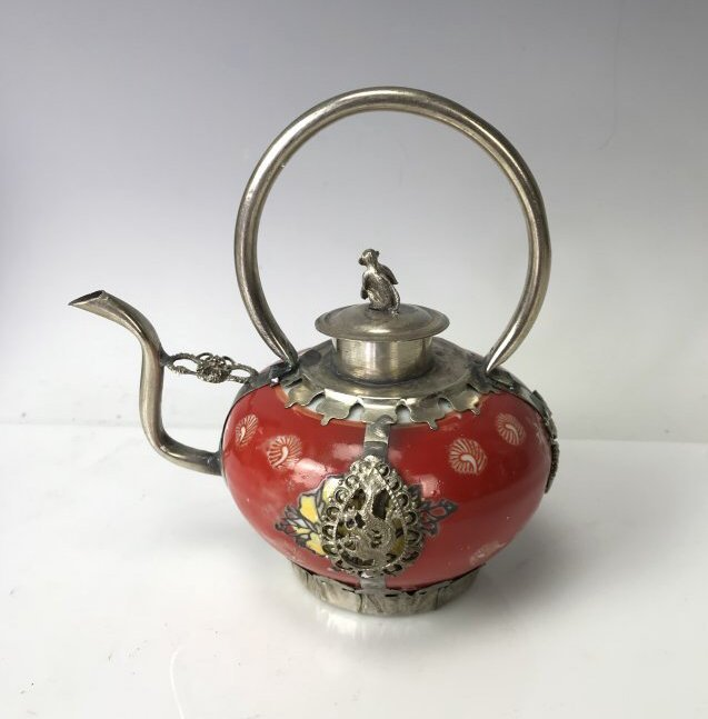CHINESE CLAD SILVER AND PORCELAIN TEA POT - 2