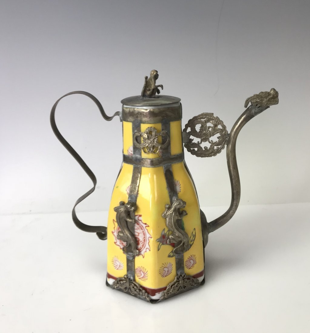 CHINESE CLAD SILVER AND PORCELAIN TEAPOT