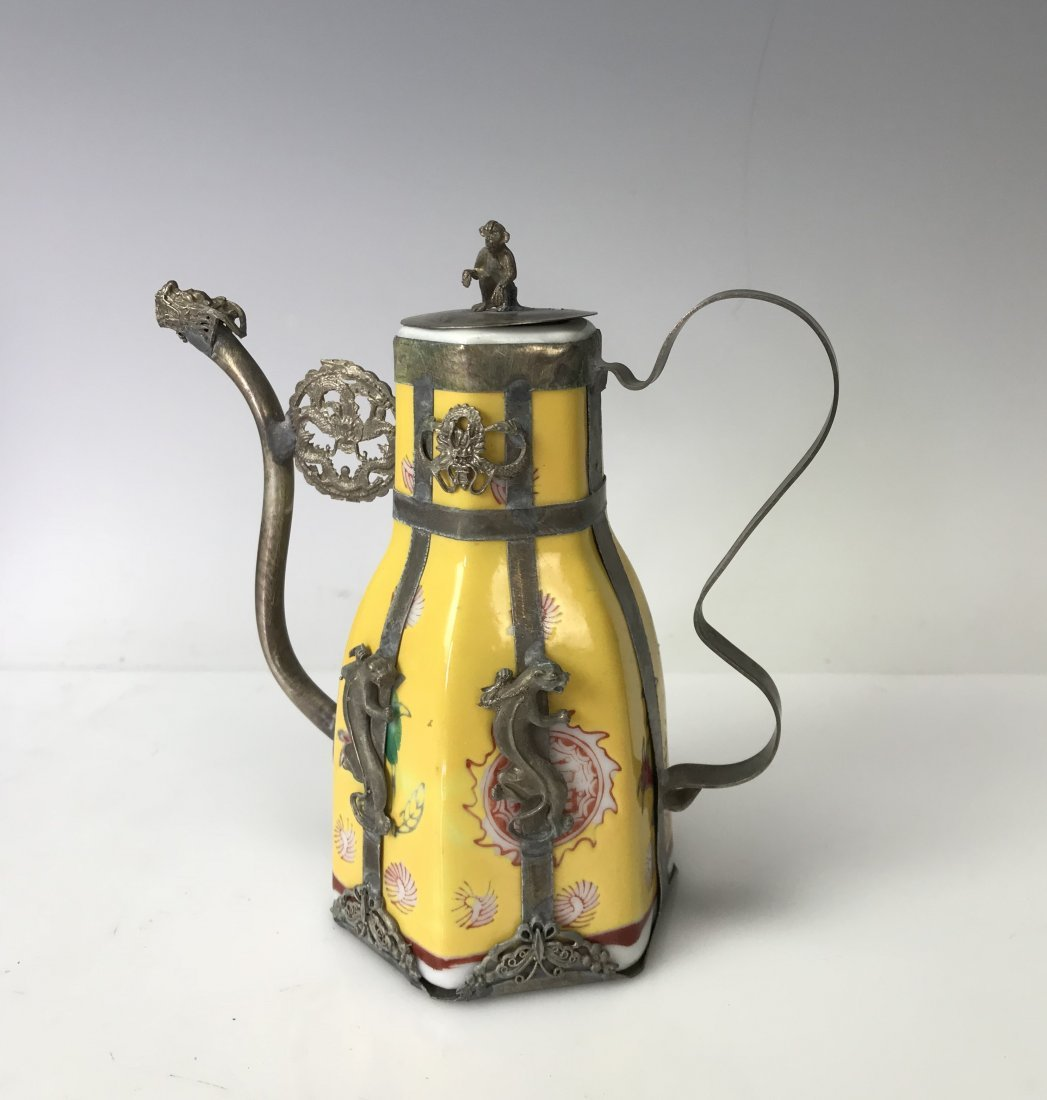 CHINESE CLAD SILVER AND PORCELAIN TEAPOT - 2