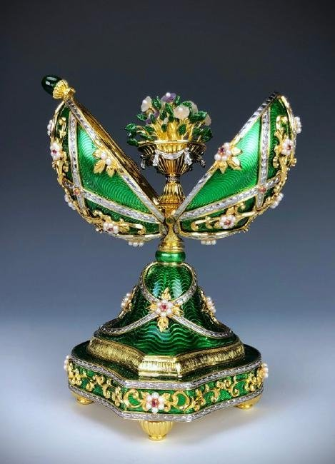 A HOUSE OF FABERGE MUSICAL STERLING GEMSET EGG - 2
