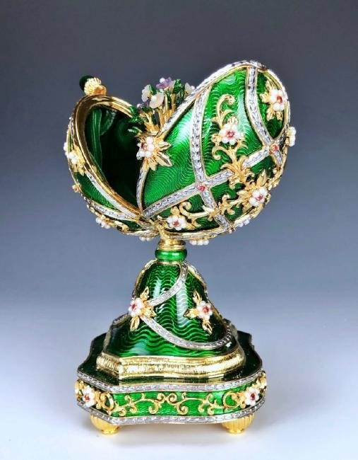 A HOUSE OF FABERGE MUSICAL STERLING GEMSET EGG - 3