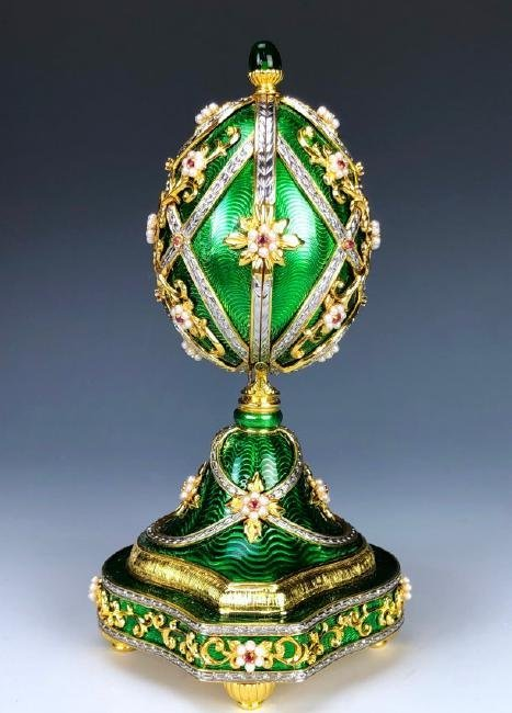 A HOUSE OF FABERGE MUSICAL STERLING GEMSET EGG - 4