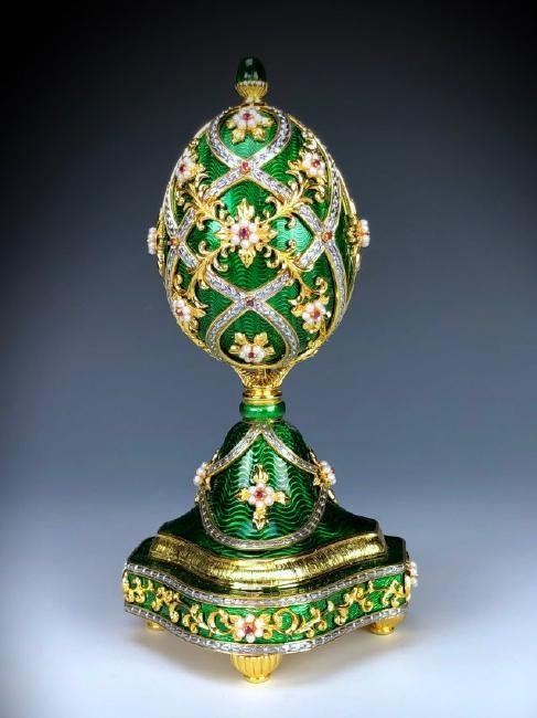 A HOUSE OF FABERGE MUSICAL STERLING GEMSET EGG - 7
