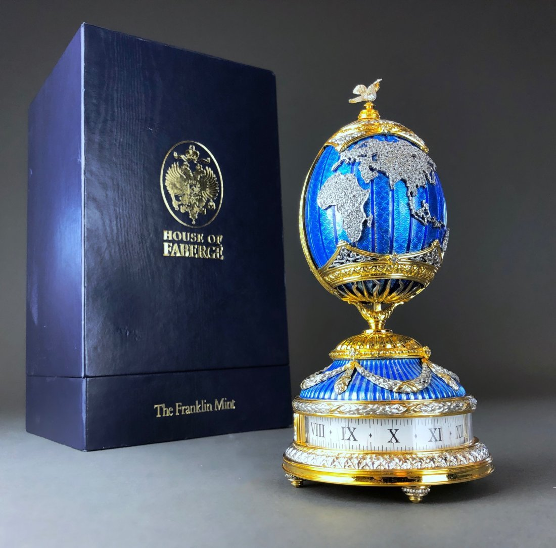 A VERY RARE JEWELED STERLING SILVER FABERGE EGG