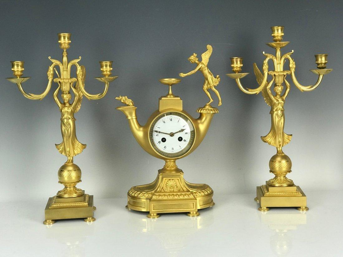 EMPIRE DORE BRONZE CLOCK SET CIRCA 1820