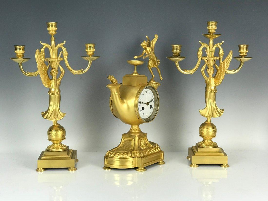 EMPIRE DORE BRONZE CLOCK SET CIRCA 1820 - 2