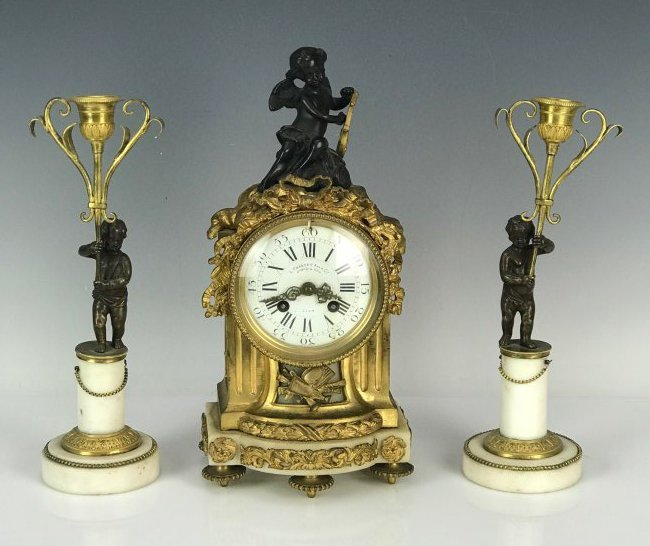 19TH C. BRONZE AND MARBLE CLOCK GARNITURE