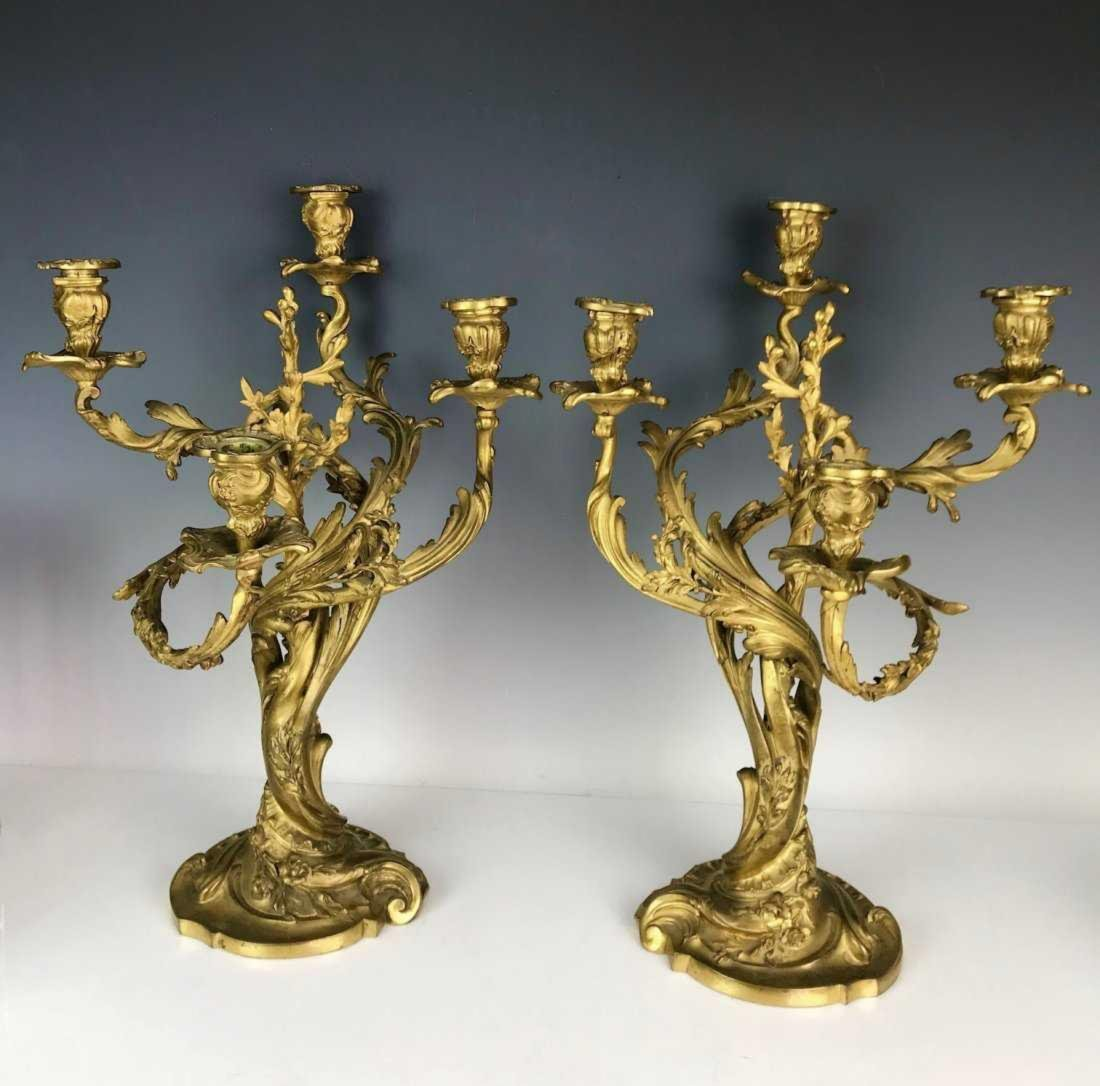 A VERY FINE PAIR OF DORE BRONZE CANDELABRA